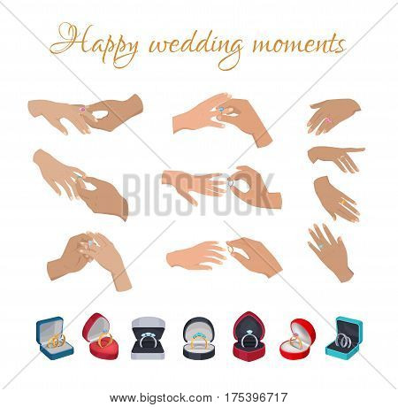 Happy wedding moments rings on fingers collection on white. Men s hands putting wedding rings on women s fingers, set of female hands with decorations and open wedding boxes with rings underneath
