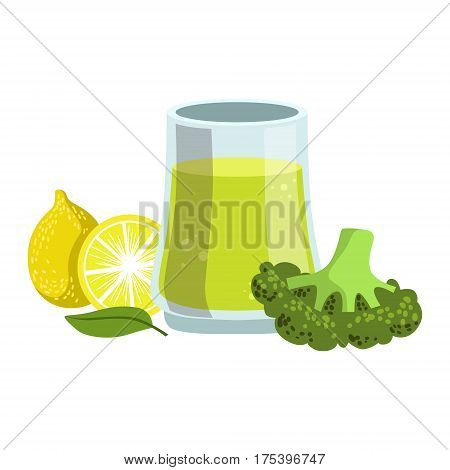 Broccoli And Lemon Smoothie, Non-Alcoholic Fresh Cocktail In A Glass And The Ingredients For It Vector Illustration. Infographic Recipe Of Healthy Vegan Breakfast Drink With Fresh Juices.