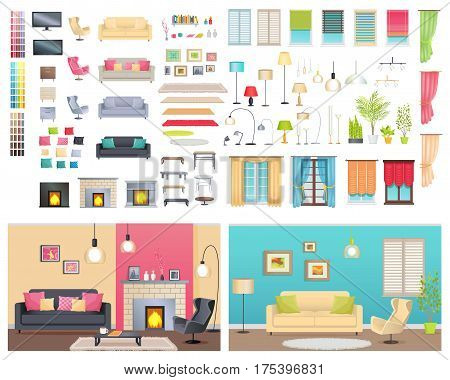 Modern interiors of two different comfortable flats. Vector illustration of various furniture and decoration items. You can choose sofas with cushions, lighting devices, types of chimneys and windows