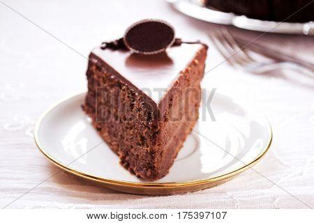 Perfect chocolate fudge cake, ready to eat