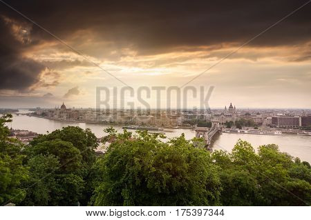 Panoramic view of Budapest from the Buda coast. View of St. Stephen's Basilica and Chain Bridge at sunset. Hungary