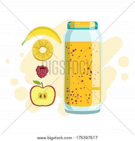 Banana, Pineapple And Raspberry Smoothie, Non-Alcoholic Fresh Cocktail In A Glass And The Ingredients For It Vector Illustration. Infographic Recipe Of Healthy Vegan Breakfast Drink With Fresh Juices.