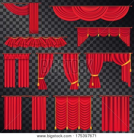 Red curtains for theatre stage collection on black transparent background. Vector poster of classic curtains and their top and lateral parts. Decorative attributes on windows or for theatres