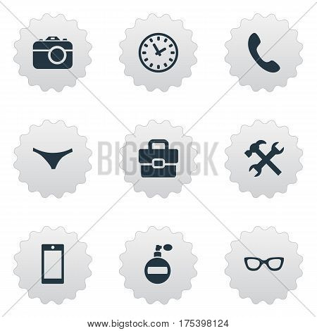 Vector Illustration Set Of Simple Accessories Icons. Elements Mobile Phone, Eyeglasses, Repair And Other Synonyms Switchboard, Eyeglasses And Telephone.