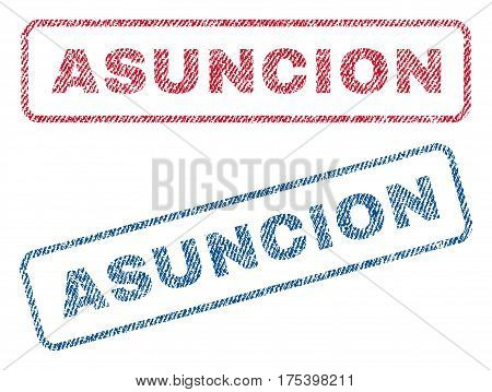 Asuncion text textile seal stamp watermarks. Blue, red fabric vectorized texture. Vector tag inside rounded rectangular shape. Rubber sign with fiber textile structure.