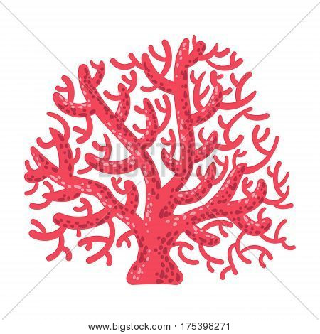 Red Fan Coral, Tropical Reef Marine Invertebrate Animal Isolated Vector Icon. Underwater Warm Water Nature And Marine Fauna Cartoon Simplified Illustration.