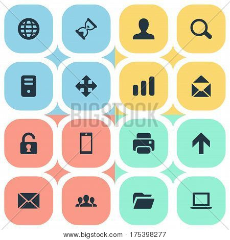 Vector Illustration Set Of Simple Application Icons. Elements Computer Case, User, Sand Timer Synonyms Dossier, Mailing And Smartphone.