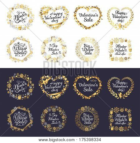 Big winter sale and happy Valentine s day set of labels on white and black backgrounds. Handwritten calligraphy inscriptions in heart and circle shapes. Vector poster of price reduction tags