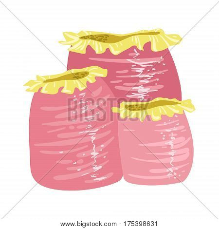 Pink Soft Tube Coral, Tropical Reef Marine Invertebrate Animal Isolated Vector Icon. Underwater Warm Water Nature And Marine Fauna Cartoon Simplified Illustration.