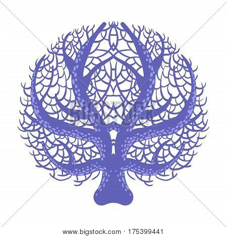 Blue Symmetrical Fan Coral, Tropical Reef Marine Invertebrate Animal Isolated Vector Icon. Underwater Warm Water Nature And Marine Fauna Cartoon Simplified Illustration.