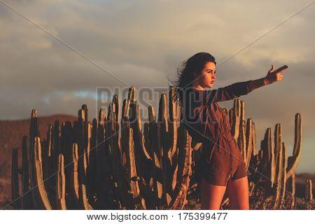 Pretty Girl Wearing Sexi Brown Shirt At Desert Cacti