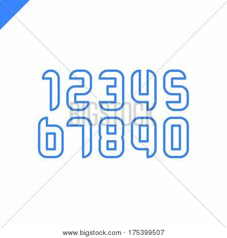 Sport Numbers Set Logo Design Template. Vector Round Square Style Typeface For Sportswear, Sports Cl