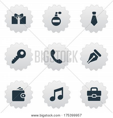 Vector Illustration Set Of Simple Accessories Icons. Elements Cravat, Billfold, Password And Other Synonyms Necktie, Call And Nib.