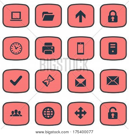 Vector Illustration Set Of Simple Practice Icons. Elements Check, Lock, Community And Other Synonyms Cooperation, Unlock And Notebook.