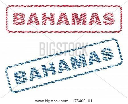 Bahamas text textile seal stamp watermarks. Blue, red fabric vectorized texture. Vector caption inside rounded rectangular banner. Rubber sign with fiber textile structure.