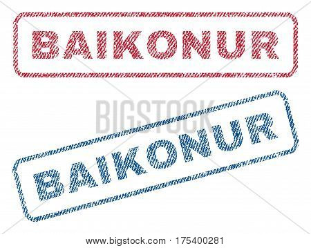 Baikonur text textile seal stamp watermarks. Blue, red fabric vectorized texture. Vector tag inside rounded rectangular banner. Rubber emblem with fiber textile structure.
