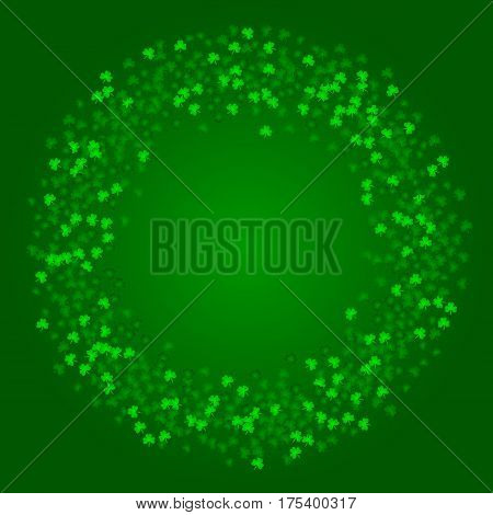 Square Saint Patricks Day background with green clover confetti. Wreath shape frame of shamrock leaves. Template for greeting card design, banner, flyer, party invitation.