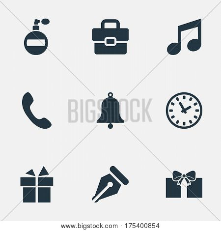 Vector Illustration Set Of Simple Accessories Icons. Elements Fragrance, Business Bag, Present And Other Synonyms Watch, Switchboard And Deodorant.