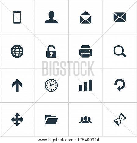 Vector Illustration Set Of Simple Apps Icons. Elements Dossier, Sand Timer, Watch Synonyms Enlarge, Hour And Up.