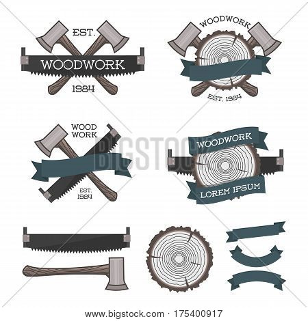 Set of woodwork label with saw, ax and tree ring. Posters, stamps, banners and design elements. Vector illustration. Wood work and manufacture label templates. Flat style