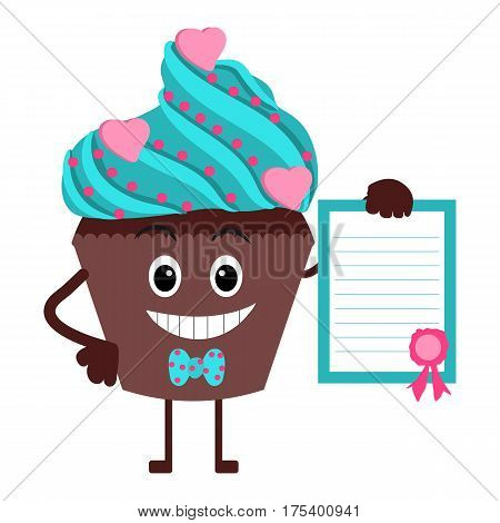 Cute and funny cupcake. Pudding with a diploma in hand. Cartoon. Vector illustration.