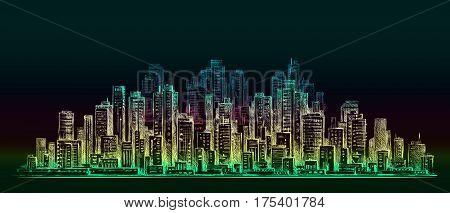 Night City Background. Hand Drawn Vector