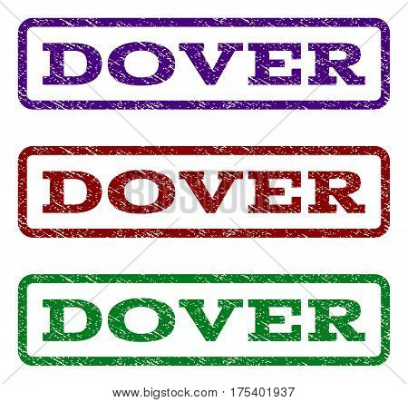 Dover watermark stamp. Text tag inside rounded rectangle frame with grunge design style. Vector variants are indigo blue, red, green ink colors. Rubber seal stamp with scratched texture.