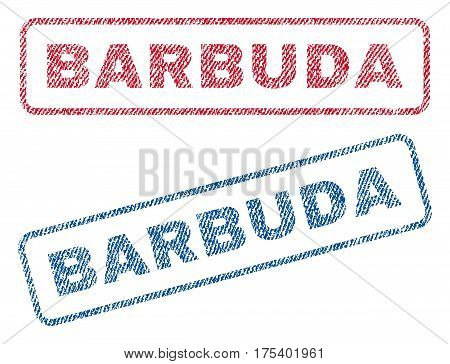 Barbuda text textile seal stamp watermarks. Blue, red fabric vectorized texture. Vector tag inside rounded rectangular banner. Rubber sign with fiber textile structure.