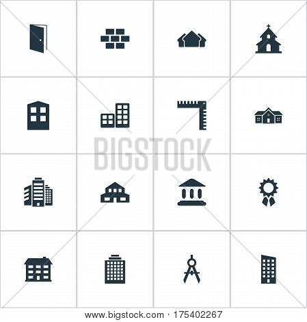 Vector Illustration Set Of Simple Construction Icons. Elements Gate, Shelter, Residence And Other Synonyms Residence, Hut And Flat.