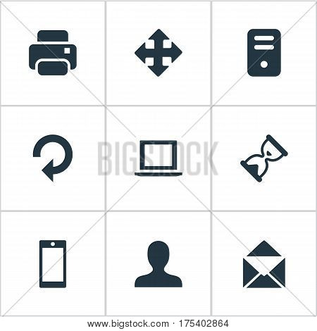 Vector Illustration Set Of Simple Application Icons. Elements Notebook, Smartphone, Envelope And Other Synonyms Enlarge, User And Extend.