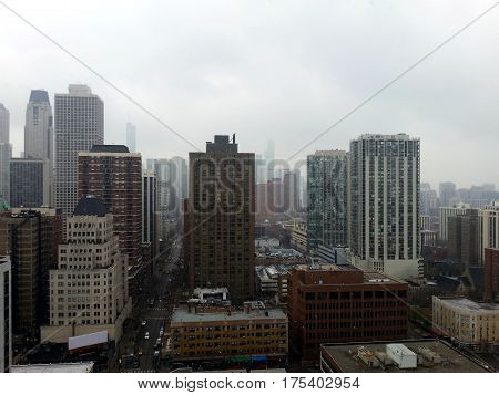 Chicago skyline aerial elevated view in a winter snowstorm