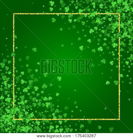 Square Saint Patricks Day background with green clover confetti. Diagonal frame of shamrock leaves and golden glitter. Template for greeting card design, banner, flyer, party invitation.
