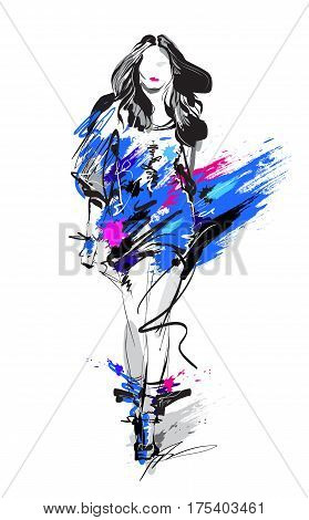 Woman fashion model hand drawn vector sketch