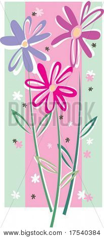 Vector card with rose flowers on a green ground