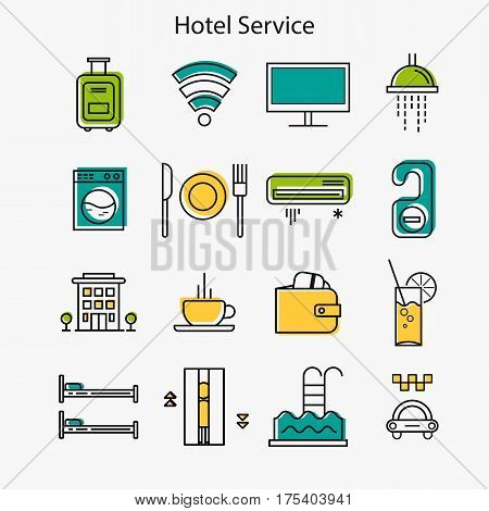 Vector set of hotel service thin line icons. Colored with yellow blue and green