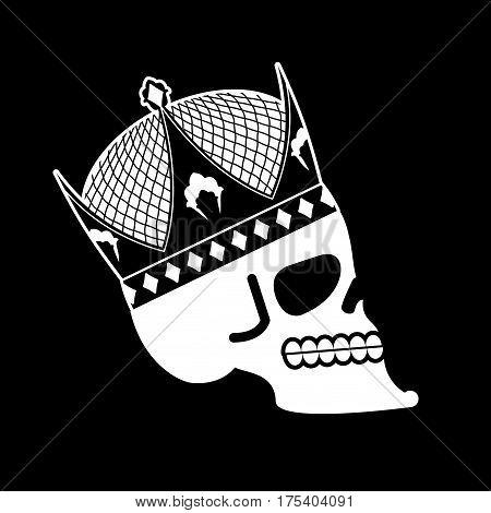 Skull In Crown. Head Of Skeleton Of King. Death Of Emperor