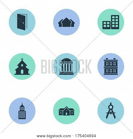 Vector Illustration Set Of Simple Architecture Icons. Elements Engineer Tool, Popish, Gate And Other Synonyms Building, Open And Construction.