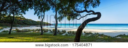Panoramic photo of Meelup Beach near Dunsborough in the south west of Western Australia, Australia.