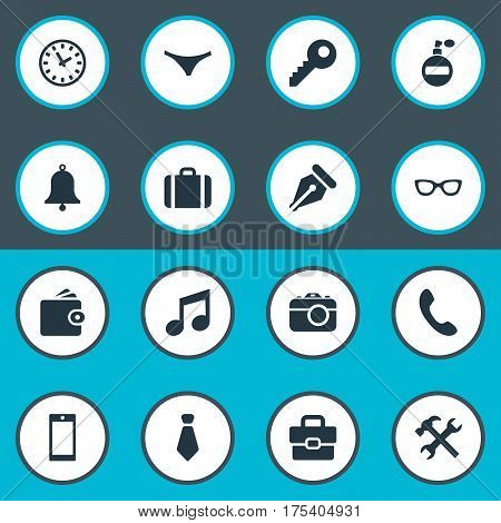 Vector Illustration Set Of Simple Accessories Icons. Elements Time, Ink Pencil, Eyeglasses And Other Synonyms Suitcase, Billfold And Tool.
