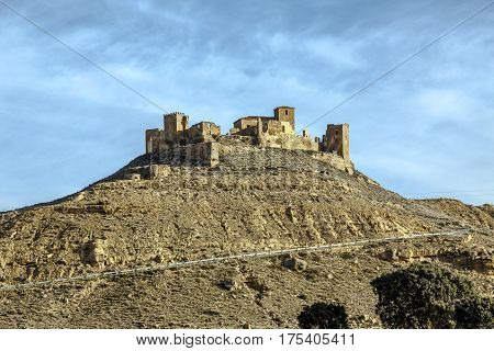 Ruins of a Castle at Montearagon at sunset Huesca Aragon Spain