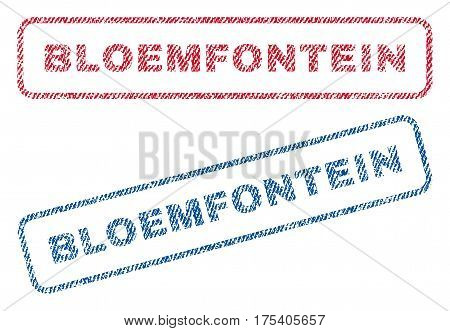 Bloemfontein text textile seal stamp watermarks. Blue, red fabric vectorized texture. Vector caption inside rounded rectangular shape. Rubber emblem with fiber textile structure.