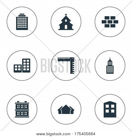 Vector Illustration Set Of Simple Architecture Icons. Elements Shelter, Flat, Structure And Other Synonyms Religious, Apartment And Realty.