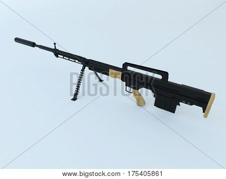 3D Render Of A Black High Calibre Assault Rifle