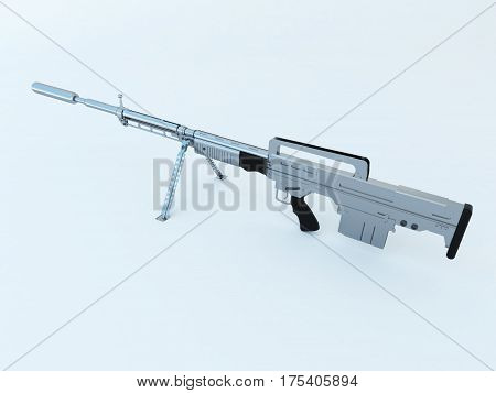3D Render Of A High Calibre Silver Assault Rifle