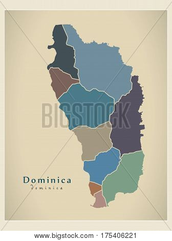 Modern Map - Dominica Parishes Colored Dm Illustration Silhouette