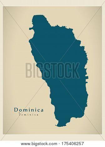 Modern Map - Dominica Dm Illustration Silhouette