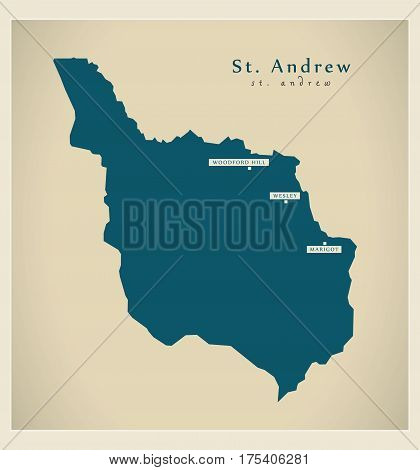 Modern Map - St. Andrew Dm Illustration Silhouette