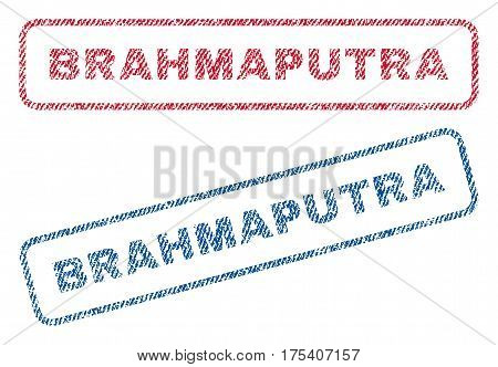 Brahmaputra text textile seal stamp watermarks. Blue, red fabric vectorized texture. Vector tag inside rounded rectangular banner. Rubber emblem with fiber textile structure.