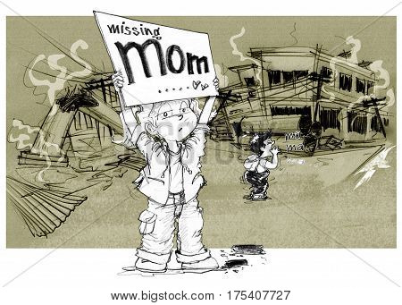 Cartoon character design survivors children showing sign having words Missing mom Sister and brother shouting to find her mother after the city is destroyed of political conflict Background is rubble ruins buildings power pole Pencil sketch &drawing.