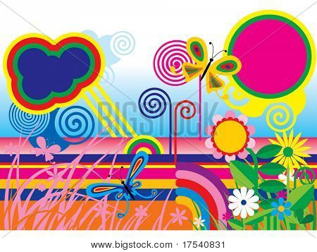 Vector abstract summer scenery